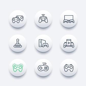 Ícones de gamepads definidos em estilo de linha, console, videogame, controladores de jogo, esporte cibernético