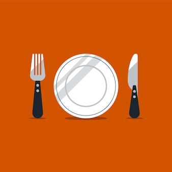 Ícones de garfo e faca, conceito de hora do almoço,