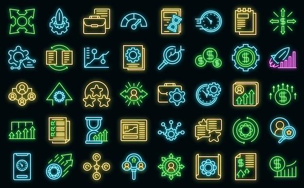 Ícones de gerenciamento de desempenho definem vetor neon
