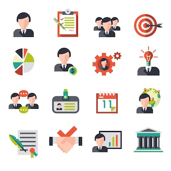 Ícones de gerenciamento de negócios configurados com empresários equipe pessoal avatares ilustração vetorial isolada