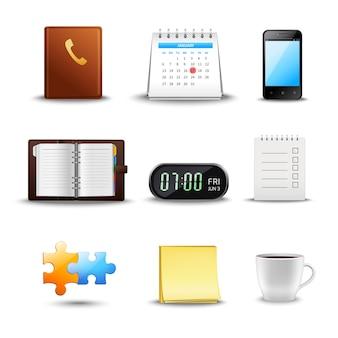 Ícones de gerenciamento de tempo realista
