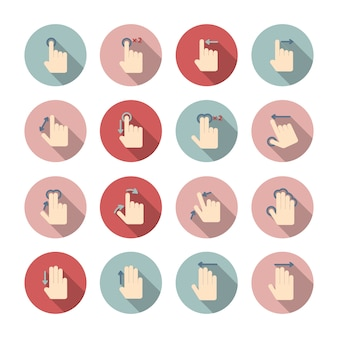 Ícones de gestos de tela de toque guia coleção de pictogramas para design de aplicativo isolado ilustração vetorial