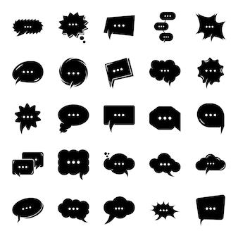 Ícones de glifo de bate-papo de bolha de pensamento