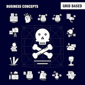 Ícones de glifo sólido de conceitos de negócios