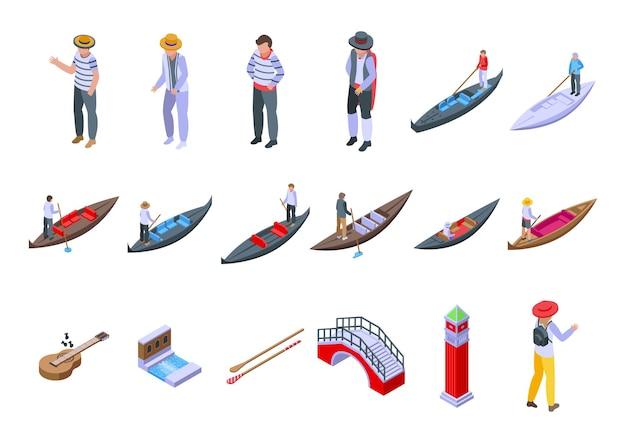 Ícones de gondoleiro definir vetor isométrico. ponte de veneza. barco gôndola