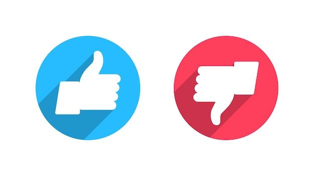 Ícones de gosto, não gosto para redes sociais