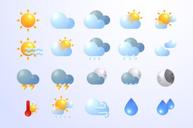 Ícones de gradientes meteorológicos para coleção de aplicativos