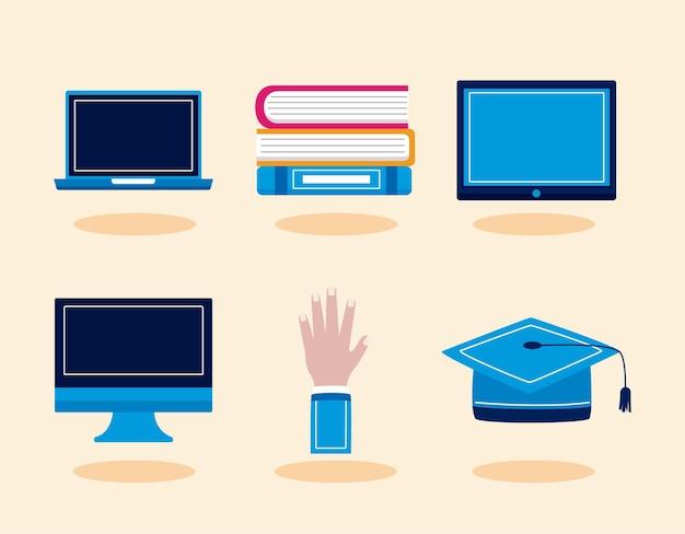 Ícones de graduação virtual