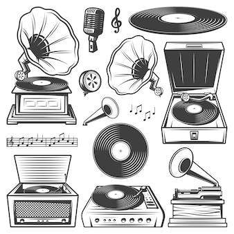 Ícones de gramofone retrô com toca-discos, toca-discos de vinil, fonógrafo e microfone, notas musicais em estilo vintage isoladas