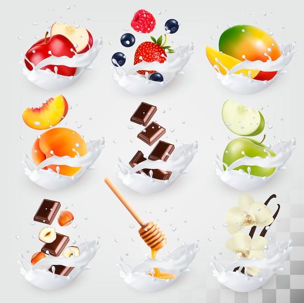 Ícones de grande coleção de frutas em um respingo de leite. framboesa, morango, manga, baunilha, pêssego, maçã, mel, nozes, chocolate conjunto de vetores 3.