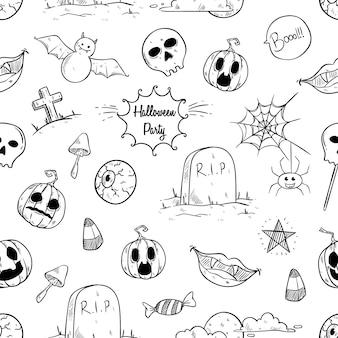 Ícones de halloween sem costura padrão com mão desenhada ou estilo doodle