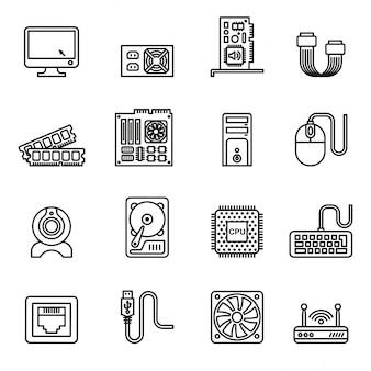 Ícones de hardware de computador. ícones dos componentes do pc.