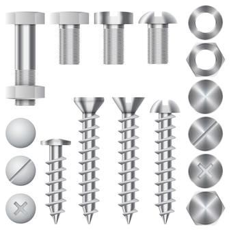 Ícones de hardware de construção. parafusos, parafusos, porcas e rebites. equipamento inoxidável, engrenagem de correção de metal, ilustração vetorial