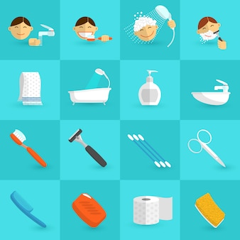 Ícones de higiene planas