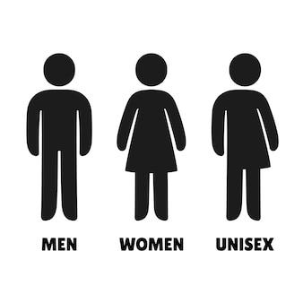 Ícones de homem, mulher e unisex. sinais de banheiro em estilo arredondado simples.