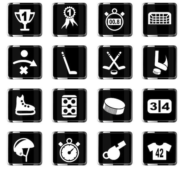 Ícones de hóquei na web para design de interface de usuário
