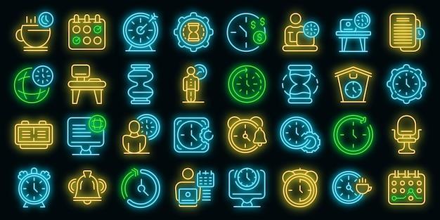 Ícones de horários de trabalho flexíveis definem vetor neon