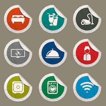 Ícones de hotéis definidos para sites e interface do usuário