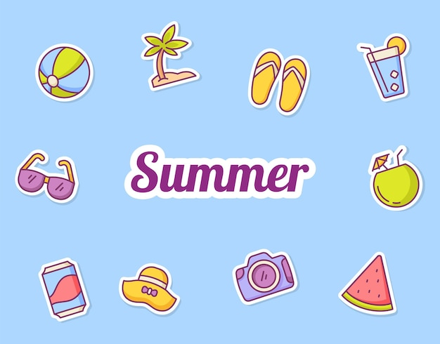 Ícones de ícones de adesivos de verão definir pacote de coleção fundo azul isolado com estilo de contorno de cor