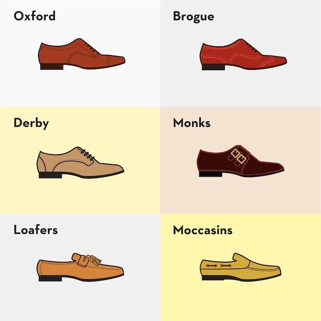 Ícones de ícones vetoriais de calçados clássicos de homem clássico.