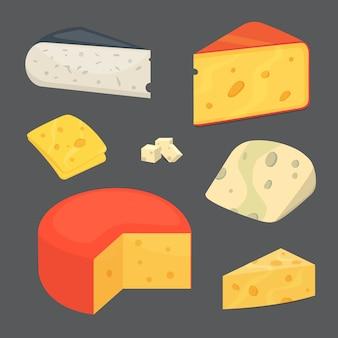 Ícones de ilustração de estilo de desenho animado de tipos de queijo