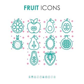 Ícones de ilustração de frutas orgânicas em cor pastel com pequenas formas de estrela rosa