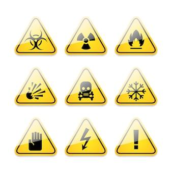 Ícones de ilustração, sinais de perigo, formato eps 10