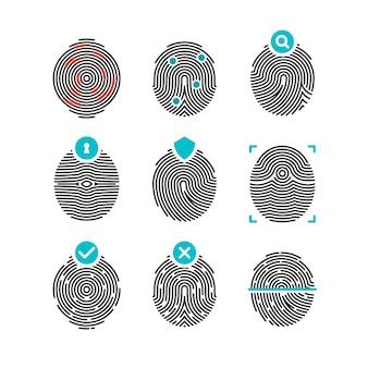 Ícones de impressão digital. impressões digitais ou impressões digitais de identidade