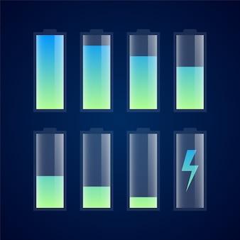 Ícones de indicador de carga de bateria