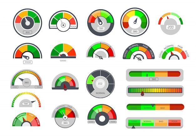Ícones de indicadores de limite de crédito