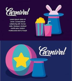 Ícones de infográfico de celebração de carnaval