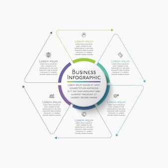 Ícones de infográfico de cronograma de círculo de negócios projetados para modelo de fundo abstrato