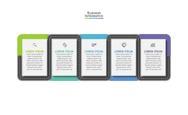 Ícones de infográfico de cronograma de roteiro de negócios projetados para modelo de fundo abstrato
