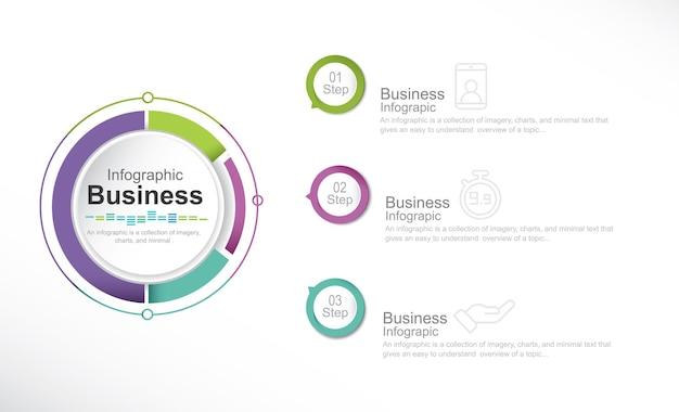 Ícones de infográfico de cronograma de visualização de dados de negócios projetados para modelo de fundo abstrato