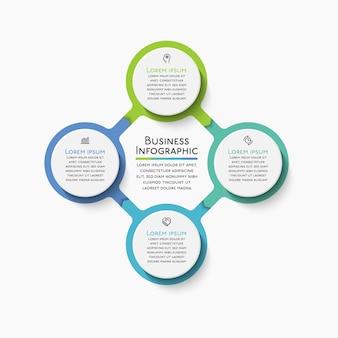 Ícones de infográfico de linha do tempo do círculo de negócios projetados para o modelo abstrato
