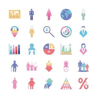 Ícones de infográfico de população