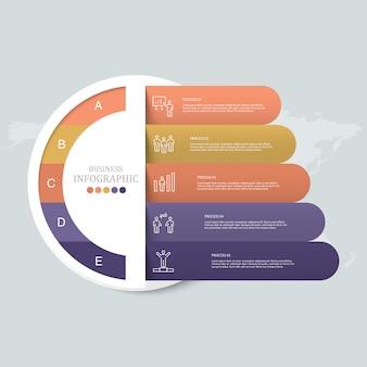 Ícones de infográfico e trabalhador de círculos.