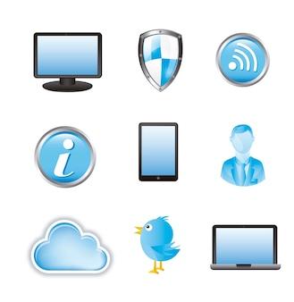 Ícones de informação de nuvem sobre ilustração vetorial de fundo branco