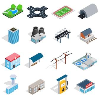 Ícones de infra-estrutura definidos no estilo 3d isométrico. cidade, jogo, cobrança, isolado, vetorial, ilustração