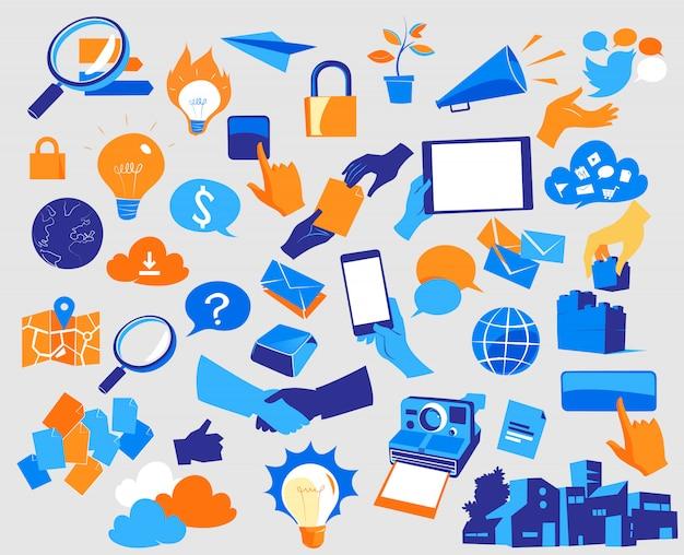 Ícones de inovação e comunicação digital