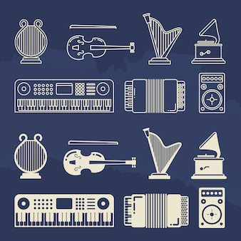 Ícones de instrumentos de música clássica de linha e silhueta