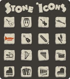 Ícones de instrumentos musicais da web para design de interface de usuário