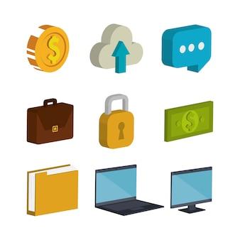 Ícones de isometria de comércio eletrônico