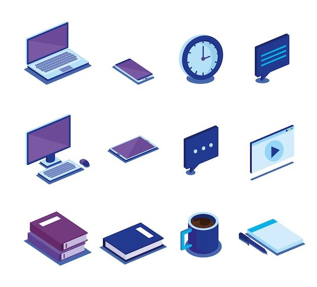 Ícones de isometrics de tecnologia digital