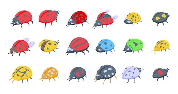 Ícones de joaninha de inseto definir vetor isométrico. criança voar