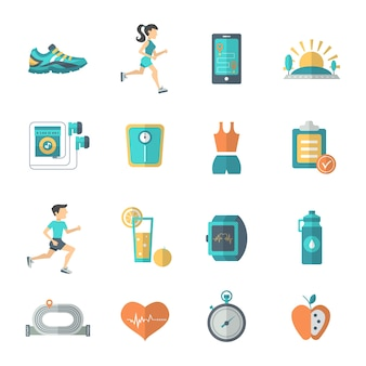 Ícones de jogging flat