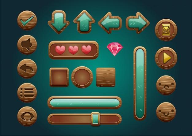 Ícones de jogo de interface do usuário de madeira