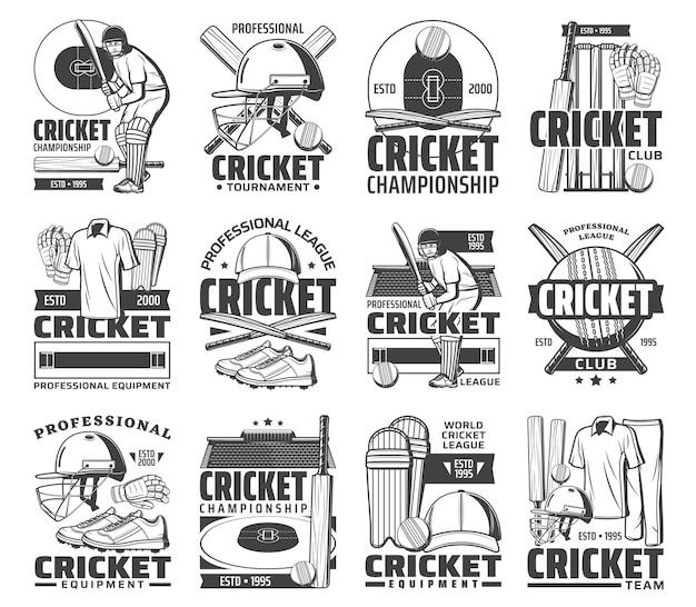 Ícones de jogos de esporte de críquete