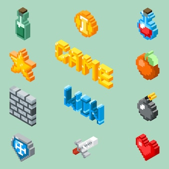 Ícones de jogos de pixel art. pictogramas isométricos de 8 bits