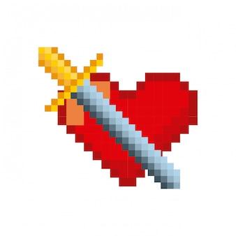 Ícones de jogos de vídeo pixelizados